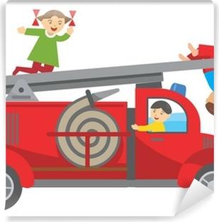 Fire truck and children Vinyl Wall Mural