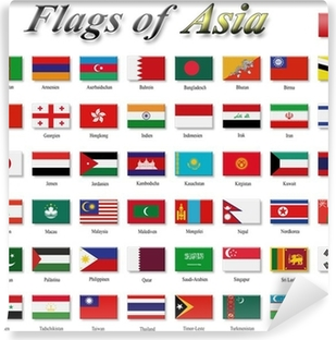 Flags of Asia Vinyl Wall Mural