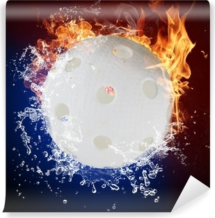 Floorball in fire flames and water splashes Vinyl Wall Mural