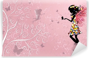 Flower Fairy near patterned wood Vinyl Wall Mural