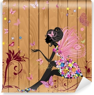 Flower Fairy on a wood texture for your design Vinyl Wall Mural