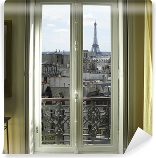 France - Paris - Window with Eiffel tower and roofs view Vinyl Wall Mural