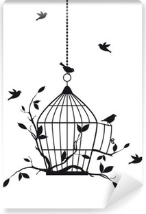 free birds with open birdcage, vector Vinyl Wall Mural