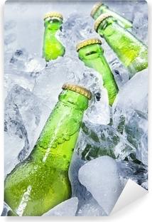Fresh beer bottles on ice Vinyl Wall Mural