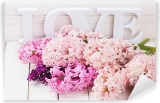 Fresh flowers and word love Vinyl Wall Mural
