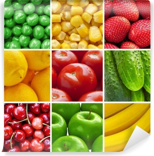 Fresh fruits and vegetables collage Vinyl Wall Mural