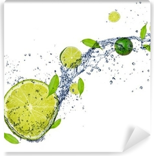 Fresh limes in water splash, isolated on white background Vinyl Wall Mural
