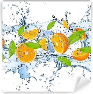 Fresh oranges in water splash,isolated on white background Vinyl Wall Mural