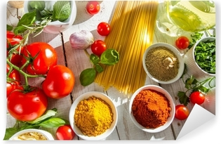 Fresh vegetables and spices in Italian cuisine Vinyl Wall Mural