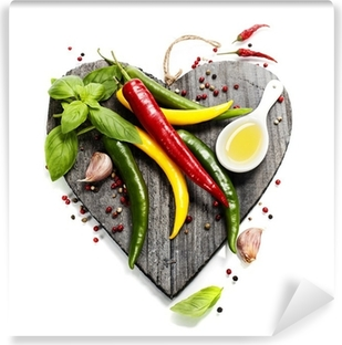 Fresh vegetables on heart shaped cutting board Vinyl Wall Mural