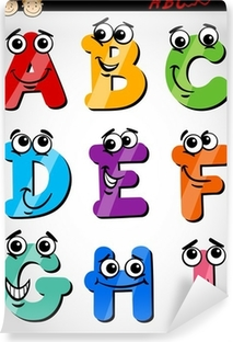 funny letters alphabet cartoon illustration Vinyl Wall Mural