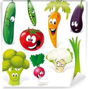funny vegetable cartoon isolated on white background Vinyl Wall Mural