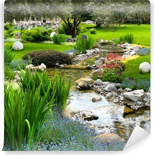Affordable Garden With Pond In Asian Style Vinyl Wall Mural With Aluminium  Sthle Garten