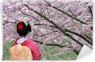 Geisha and blooming Sakura tree Vinyl Wall Mural