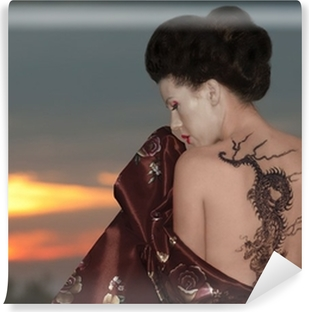 Geisha with dragon tattoo Vinyl Wall Mural