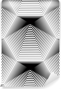 Geometric monochrome stripy seamless pattern, black and white ve Vinyl Wall Mural