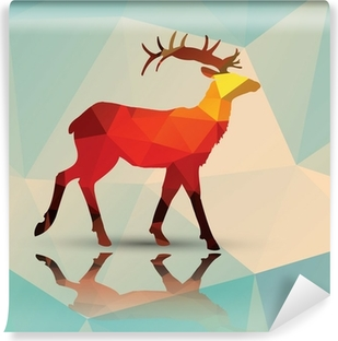 Geometric polygonal deer, pattern design, vector Vinyl Wall Mural