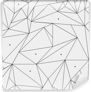 Geometric simple black and white minimalistic pattern, triangles or stained-glass window. Can be used as wallpaper, background or texture. Vinyl Wall Mural