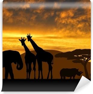giraffes,elephant and rhino over sunrise Vinyl Wall Mural