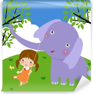 girl and elephant Vinyl Wall Mural