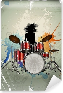 Girl play the drums Vinyl Wall Mural