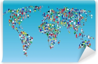 Globalisation world map with people made from flags canvas print globalisation world map with people made from flags vinyl wall mural gumiabroncs Gallery