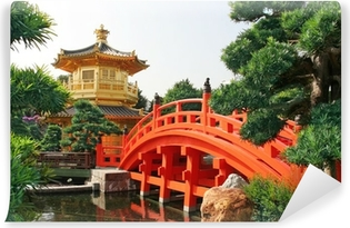 Gold pavilion in Chinese garden Vinyl Wall Mural