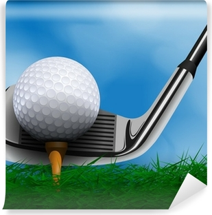 Golf ball and club in front of grass Vinyl Wall Mural