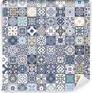 Gorgeous floral patchwork design. Colorful Moroccan or Mediterranean square tiles, tribal ornaments. For wallpaper print, pattern fills, web background, surface textures. Indigo blue white teal Vinyl Wall Mural
