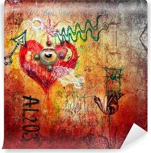 Graffiti with red heart Vinyl Wall Mural