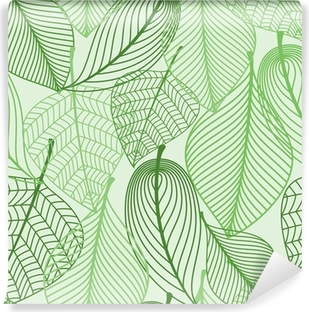 Green leaves seamless pattern background Vinyl Wall Mural