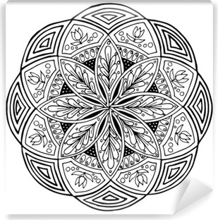 Hand-drawing mandala, round floral ornament. Pattern for coloring book or print for cloth. Vector stock illustration. Vinyl Wall Mural