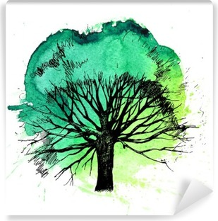 Hand drawn tree silhouette Vinyl Wall Mural