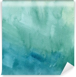 Hand drawn turquoise blue, green watercolor abstract paint texture. Raster gradient splash background. Vinyl Wall Mural