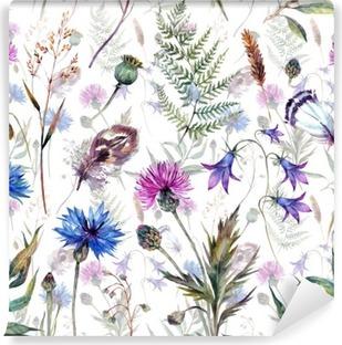 Hand drawn watercolor wildflowers Vinyl Wall Mural