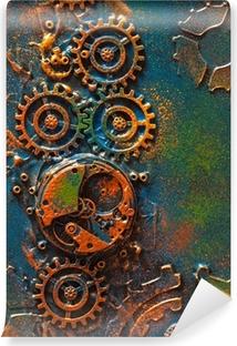 handmade steampunk background mechanical cogs wheels clockwork Vinyl Wall Mural