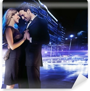 0179495114480 Handsome young couple dancing on the street and smiling Vinyl Wall Mural