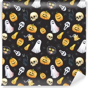 Happy Halloween seamless pattern background. Funny pumpkin, ghost, black cat, monsters. Watercolor illustration Vinyl Wall Mural