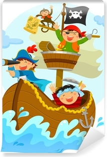 happy pirates sailing in their ship Vinyl Wall Mural