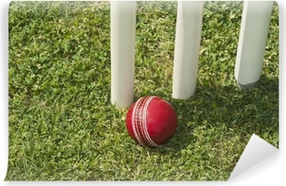 High angle view of a cricket ball near stumps Vinyl Wall Mural
