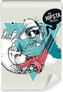 Hipster graffiti character Vinyl Wall Mural