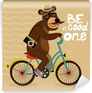 Hipster poster with geek bear Vinyl Wall Mural