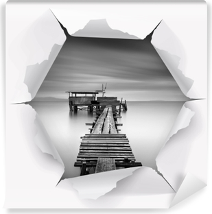 Hole in the wall - Wooden pier Vinyl Wall Mural