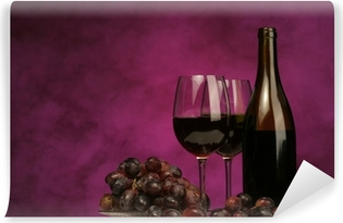 horizontal of wine bottle with glasses and grapes Vinyl Wall Mural