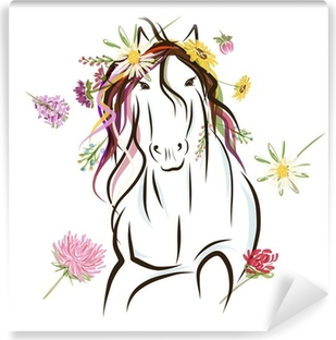 Horse sketch with floral decoration for your design. Symbol of Vinyl Wall Mural