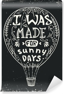 Hot Air Balloon Vector Illustration Lettering Typography Poster