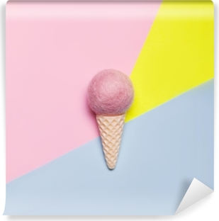 Ice cream on pastel colorful background. Minimal summer concept. Flat lay. Vinyl Wall Mural