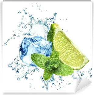 Ice cubes, mint leaves, water splash and lime on a white Vinyl Wall Mural