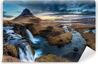 Iceland landscape - Sunrise at Mt. Kirkjufell Vinyl Wall Mural