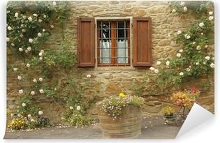 idyllic window with roses,borgo Volpaia, Tuscany Vinyl Wall Mural